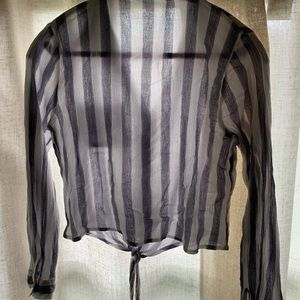 sar michel Tops - Tie-front striped blouse